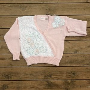 Vtg Jaclyn Smith floral pink white  sweater sz M
